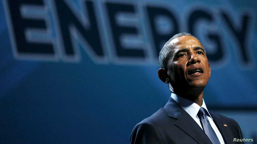 FILE - U.S. President Barack Obama addresses the National Clean Energy Summit at the Mandalay Bay Resort Convention Center in Las Vegas, Nevada, Aug. 24, 2015.