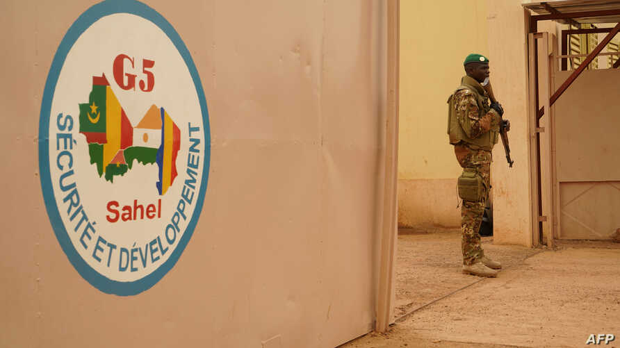 A Malian Army soldier with the G5 Sahel, an institutional framework for coordination of regional cooperation in development policies and security matters in West Africa, is seen in Sevare on May 30, 2018.