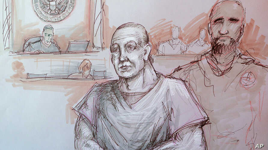In this courtroom sketch, Cesar Sayoc, left, appears in federal court in Miami, Oct. 29, 2018.