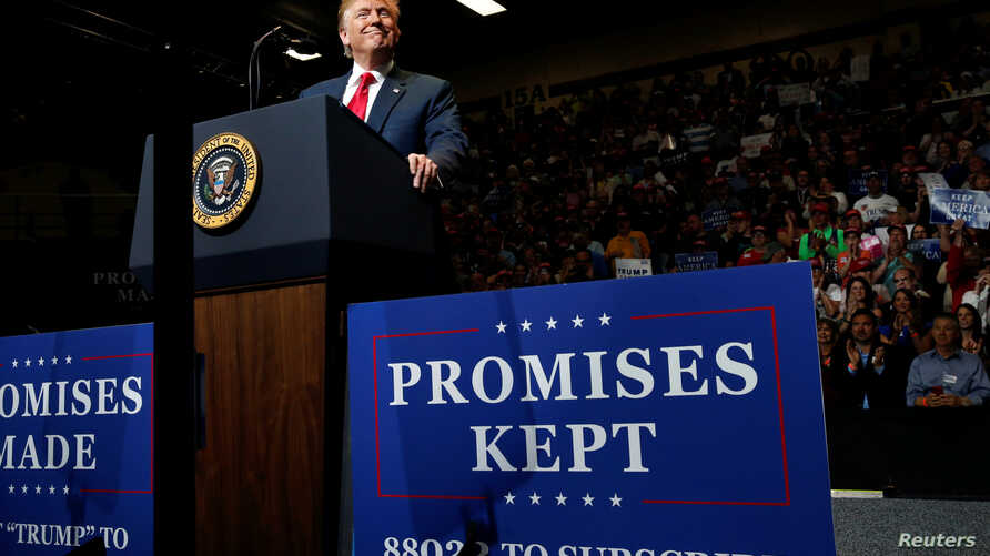 U.S. President Donald Trump holds a rally with supporters at North Side Middle School in Elkhart, Ind., May 10, 2018.