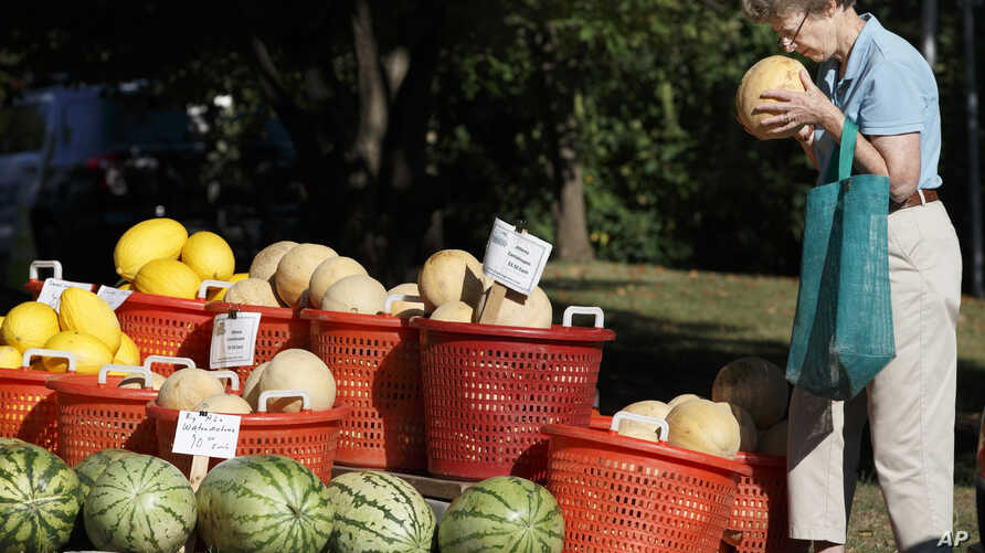FILE - A shopper inspects fresh-picked melons and other summer garden vegetables are displayed for sale at a farmers market in Falls Church, Va., Aug. 8, 2015.
