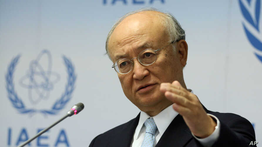 FILE - Director General of the International Atomic Energy Agency, IAEA, Yukiya Amano, of Japan.