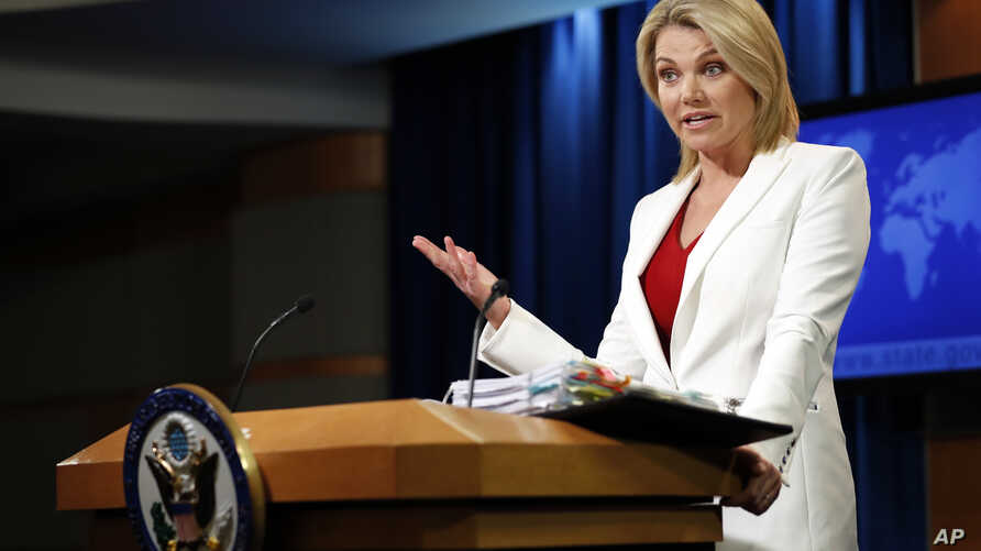 FILE - State Department spokeswoman Heather Nauert speaks during a briefing at the State Department in Washington, Aug. 9, 2017.