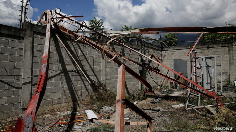 A fallen antenna at a vandalized Movistar facility in Guarenas, Venezuela, Nov. 23, 2016. Movistar, the country's second largest telecom company, has suffered 636 thefts this year.