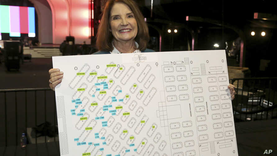 "SAG Awards Executive Producer Kathy Connell holds the seating chart of the ceremony at the 25th Annual SAG Awards ""Cocktails with the SAG Awards"" event at the Shrine Auditorium and Expo Hall in Los Angeles, Jan. 24, 2019."