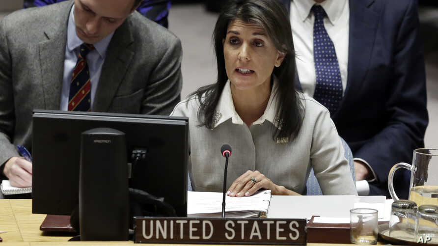 """The decision to recognize Jerusalem as the capital of Israel reflects the """"will of the American people,"""" U.S. Ambassador Nikki Haley told the Security Council, Friday, Dec. 8, 2017."""