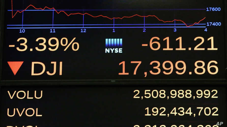 A screen above the floor of the New York Stock Exchange shows the closing number for the Dow Jones industrial average, Friday, June 24, 2016.
