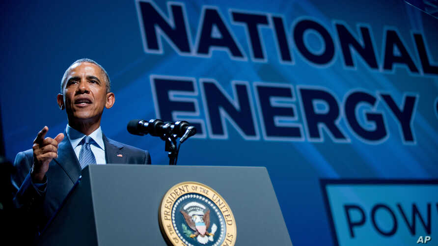 President Barack Obama speaks at the National Clean Energy Summit at the Mandalay Bay Resort Convention Center, Aug. 24, 2015, in Las Vegas.