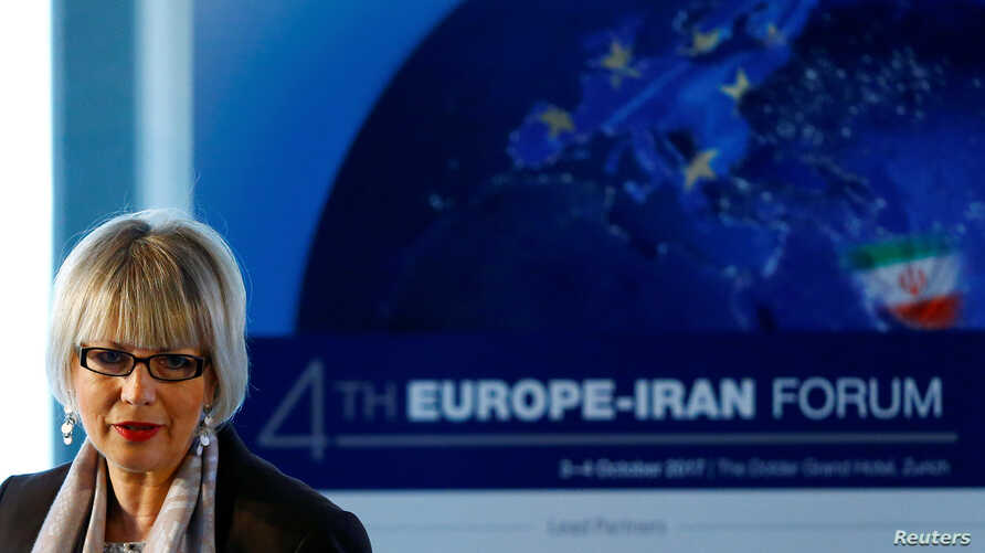 Helga Schmid, secretary general of the European External Action Service, addresses the 4th Europe-Iran Forum in Zurich, Oct. 4, 2017.