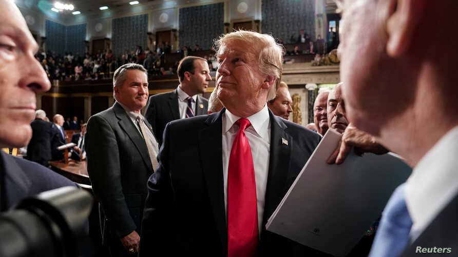 President Donald Trump after the State of the Union address at the Capitol in Washington, Feb. 5, 2019.