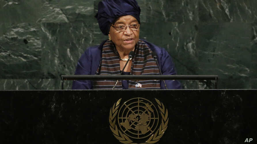 President Ellen Johnson-Sirleaf of Liberia addresses the 72nd session of the United Nations General Assembly, at U.N. headquarters, Sept. 19, 2017.