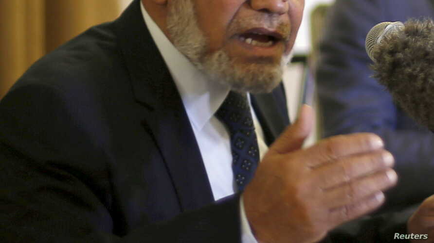 FILE - Senior Hamas leader Mahmoud al-Zahar speaks during a meeting with the Foreign Press Association in Gaza City, Feb. 24, 2016.