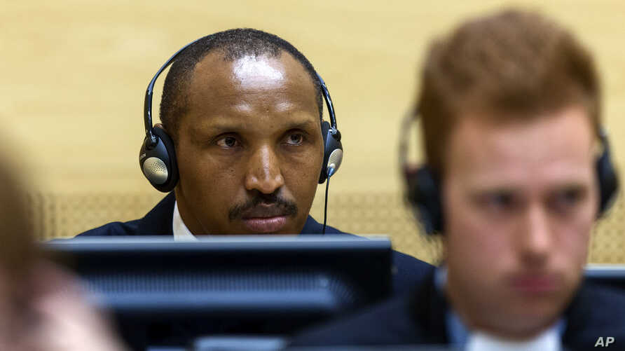 International Criminal Court on charges including murder, rape and sexual slavery allegedly committed in the eastern Ituri region of Congo from 2002-2003, in The Hague, Netherlands, Wednesday, Sept. 2, 2015.