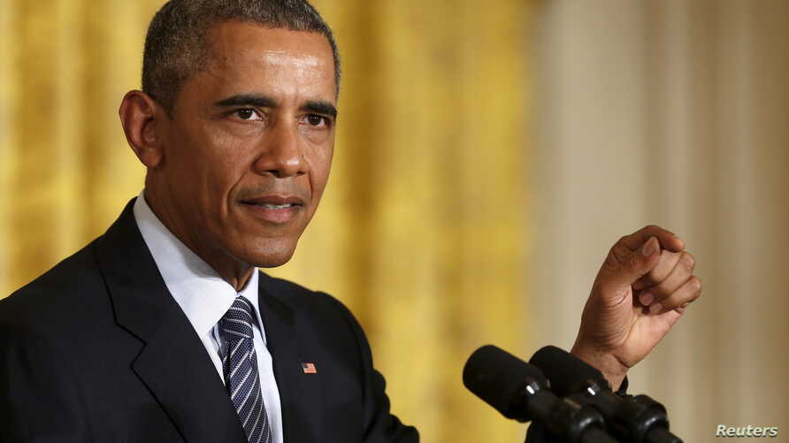 FILE - U.S. President Barack Obama delivers remarks at the White House in Washington, Aug. 3, 2015.