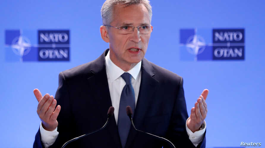 NATO Secretary-General Jens Stoltenberg addresses a news conference during a NATO defence ministers meeting at the Alliance headquarters in Brussels, Belgium, June 7, 2018.