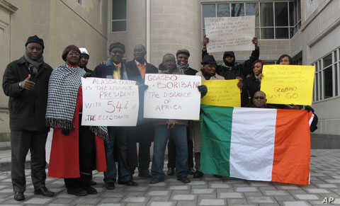 These pro-Ouattara protesters outside the Ivory Coast embassy in Washington support the current U.S. policy, but others are more reserved.