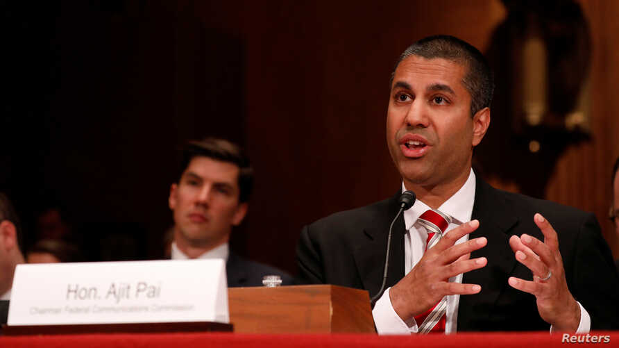 Ajit Pai, Chairman of the Federal Communications Commission, testifies before a Senate Appropriations Financial Services and General Government Subcommittee on Capitol Hill in Washington, June 20, 2017.