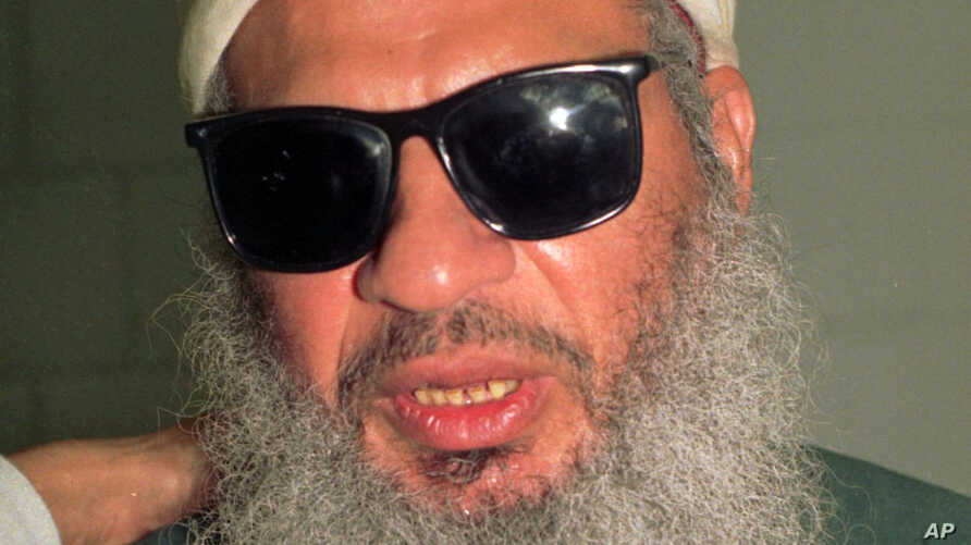 FILE - Sheikh Omar Abdel-Rahman, an Egyptian cleric convicted of participating in a plan to blow up landmarks in New York City, has died in prison. Photo from November 1993.