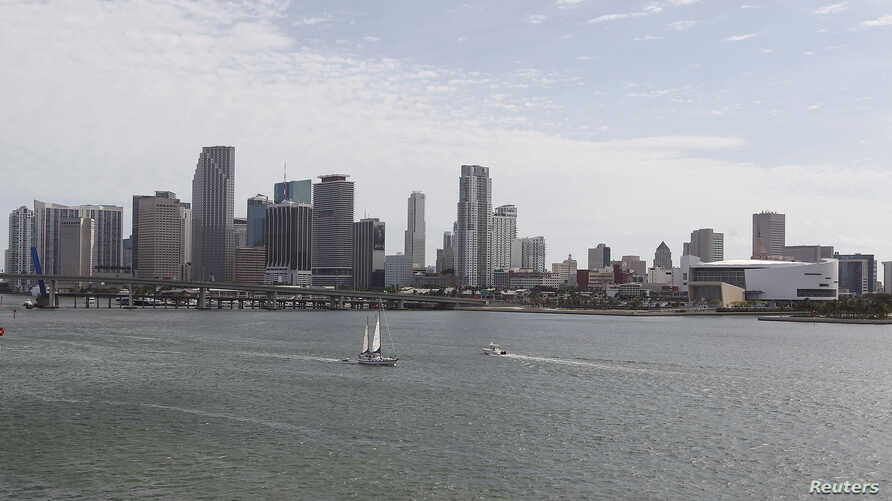 FILE - A portion of the City of Miami's skyline, is seen near the Port of Miami in Miami, Florida.