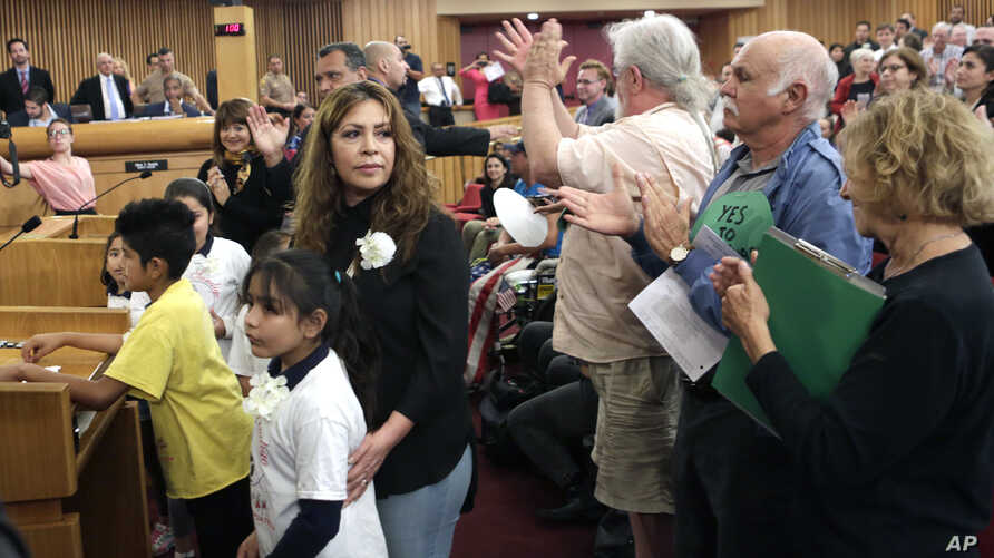 Nora Sandigo Otero and several children under her legal guardianship receive a standing ovation upon their arrival at a Miami-Dade County immigration hearing, Feb. 17, 2017, in downtown Miami. Sandigo Otero is asking Miami-Dade commissioners to rever