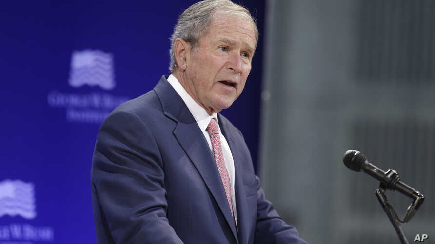 Former U.S. President George W. Bush speaks at a forum sponsored by the George W. Bush Institute in New York, Oct. 19, 2017. Bush is one of the 52 former U.S. officials who has signed a letter supporting the nuclear deal with Iran.