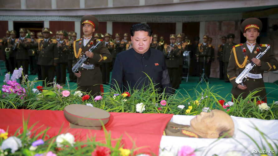 North Korean leader Kim Jong Un attends the funeral of the late Korean People's Army general Lee Ul Sol Nov. 8, 2015.