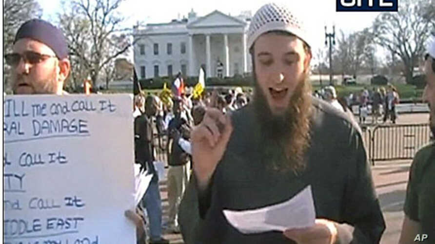 This undated file picture shows Zachary Adam Chesser, 20, standing in front of the White House in Washington, DC. Chesser pleaded guilty to providing material support to a US-designated terrorist group and making threats against the writers of the po