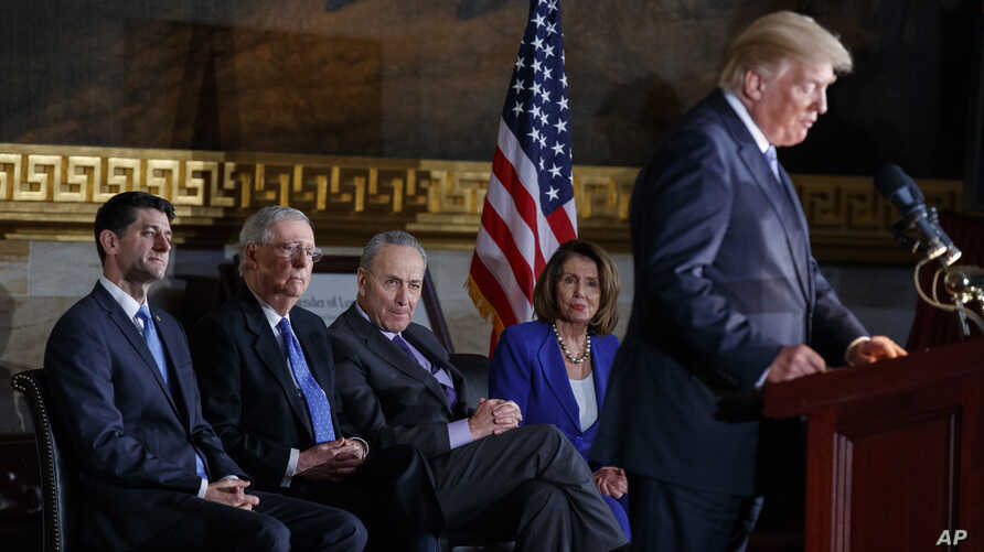 President Donald Trump speaks during a Congressional Gold Medal ceremony honoring former Senator Bob Dole on Capitol Hill, Wednesday, Jan. 17, 2018, in Washington.