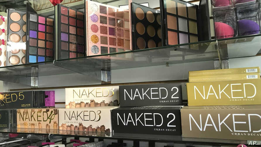 This April 12, 2018, photo released by the Los Angeles Police Department shows counterfeit cosmetics to be seized by police in the Santee Alley area of Los Angeles. The fakes were worth  $700,000.