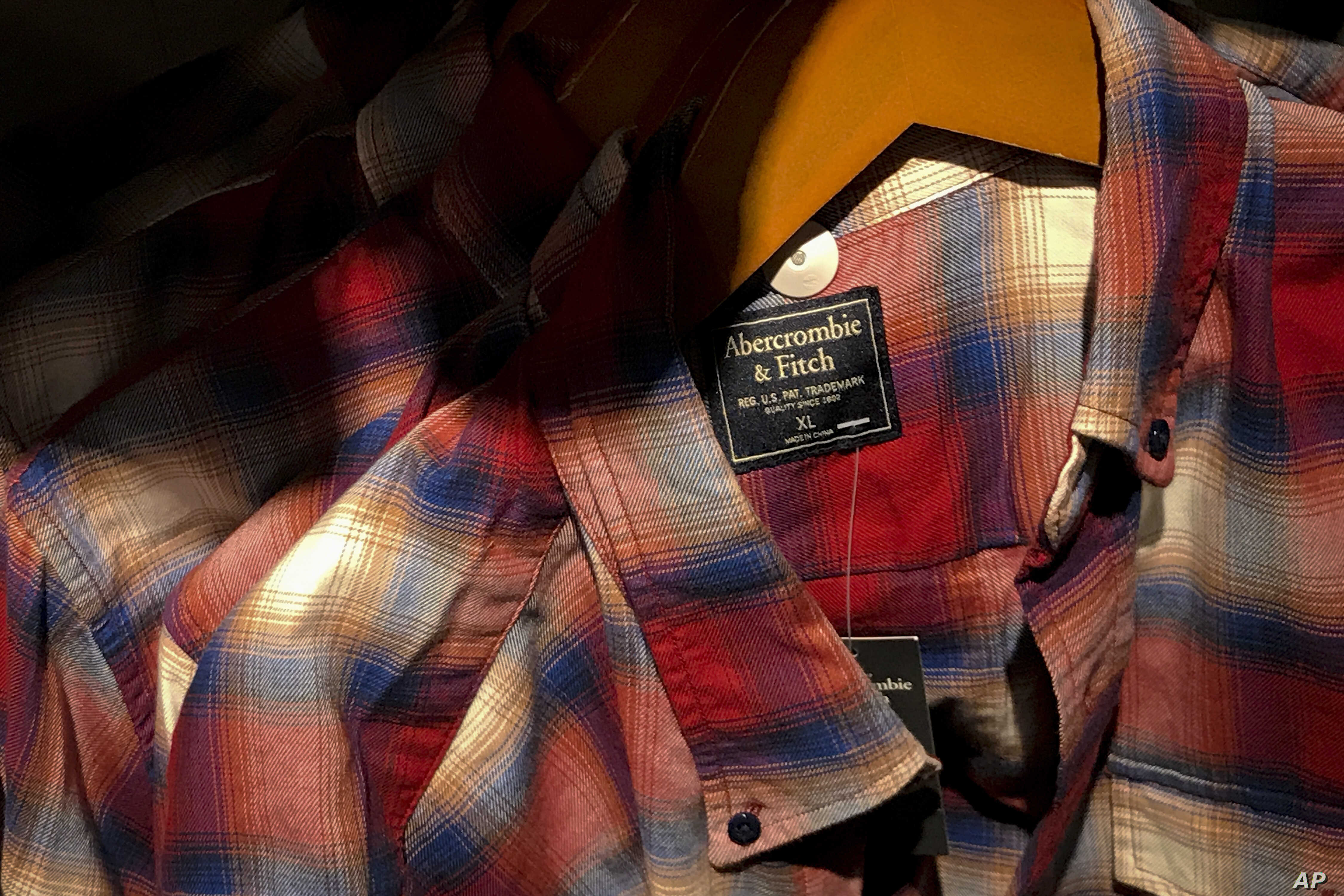 FILE - Clothing from American brand Abercrombie & Fitch, which was made in China, is seen for sale at a store in Beijing.