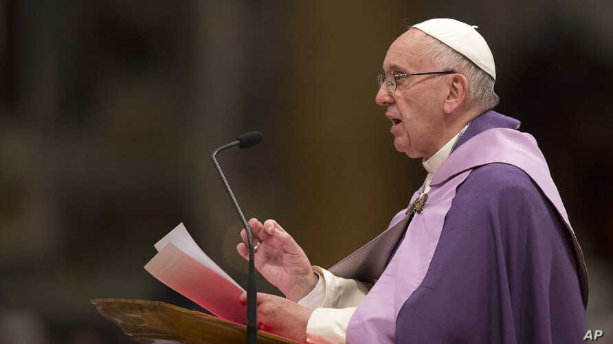 Pope Francis speaks as he leads a Penitential liturgy in St. Peter's Basilica at the Vatican, March 4, 2016.