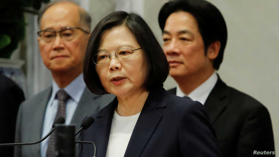 Taiwanese President Tsai Ing-wen speaks to the media after Burkina Faso ends diplomacy relationship with Taiwan, in Taipei, Taiwan, May 24, 2018.