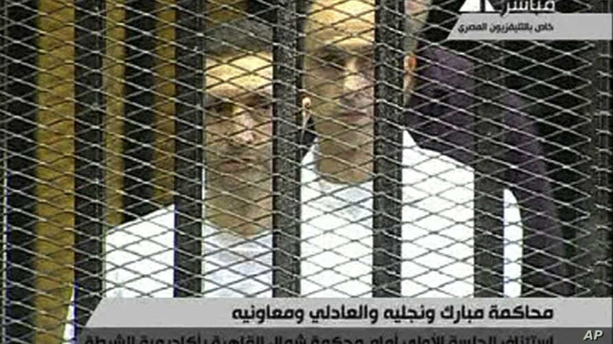 This video image taken from Egyptian State Television shows the sons of  Hosni Mubarak, Alaa Mubarak, left and Gamal Mubarak as they  stand inside the  cage of mesh and iron bars in a Cairo courtroom Wednesday Aug. 3, 2011 as his historic trial began...