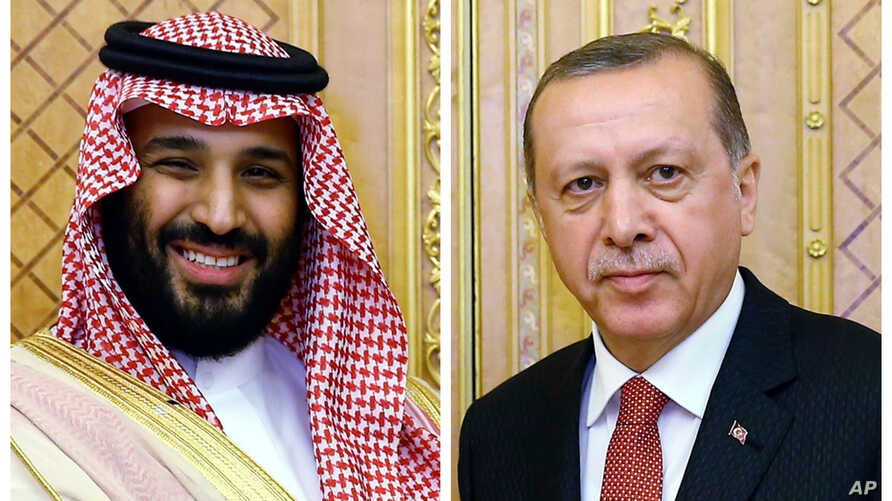 FILE – This combination photo shows Saudi Crown Prince Moh