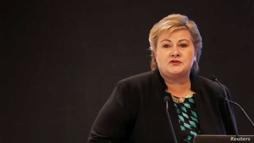 FILE PHOTO: Norway's Prime Minister Erna Solberg speaks during India-Norway Business Conference in New Delhi, India, Jan. 7, 2019.