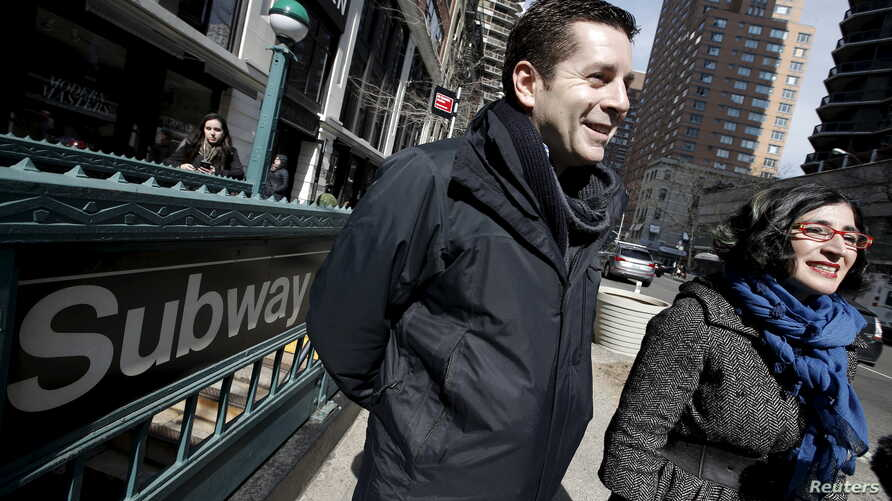 "Comedians and makers of the documentary film ""The Muslims are Coming"" Dean Obeidallah (L) and Negin Farsad are pictured during an interview with Reuters outside a subway station in the Manhattan borough of New York City, March 7, 2016."