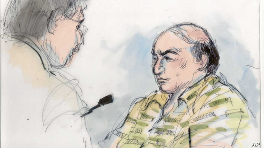 Courtroom sketch shows Mark Basseley Youssef (r) talking with his attorney Steven Seiden in court. Youssef, was behind an anti-Muslim film that sparked violence in the Middle East, Sept. 27, 2012.