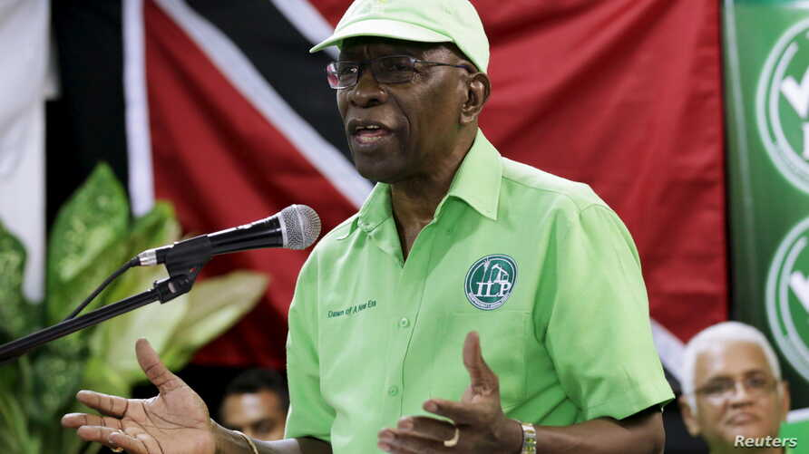 Former FIFA Vice President Jack Warner addresses the audience during a meeting of his Independent Liberal Party in Marabella, South Trinidad, June 3, 2015.
