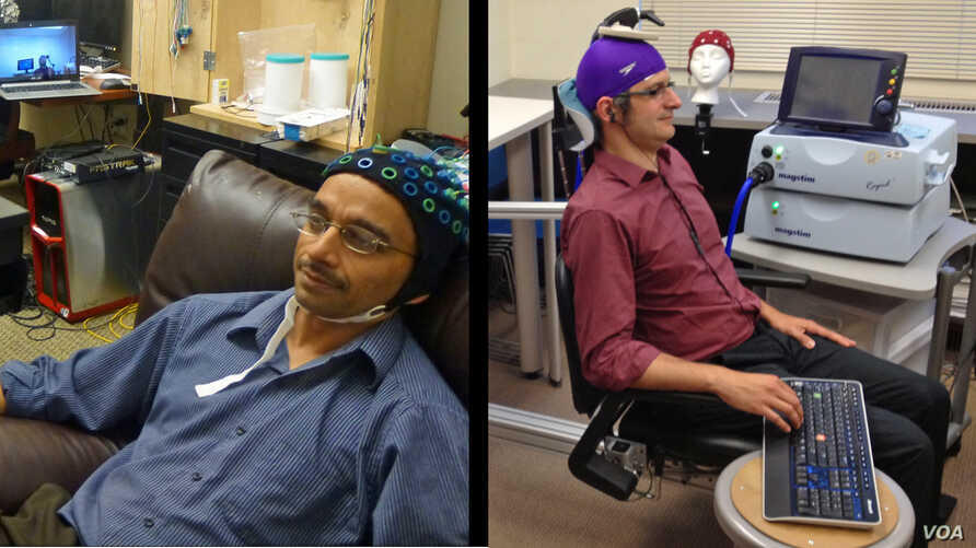 University of Washington researcher Rajesh Rao, left, plays a computer game with his mind. Across campus, researcher Andrea Stocco, right, wears a magnetic stimulation coil over the left motor cortex region of his brain. (Credit: University of Washin