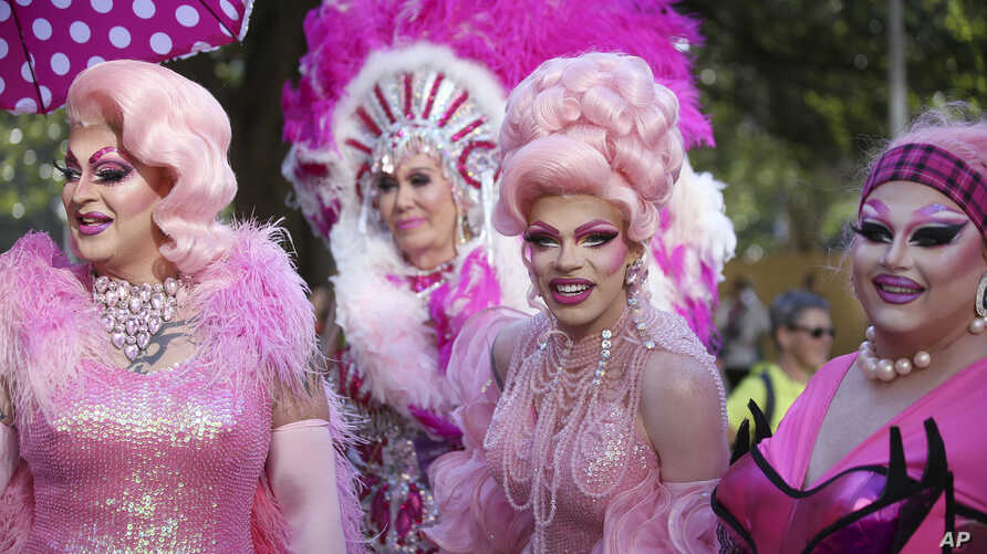 Participants in the annual Gay and Lesbian Mardi Gras prepare to march in the parade in Sydney, March 3, 2018. More than 200 groups are marching in the parade.