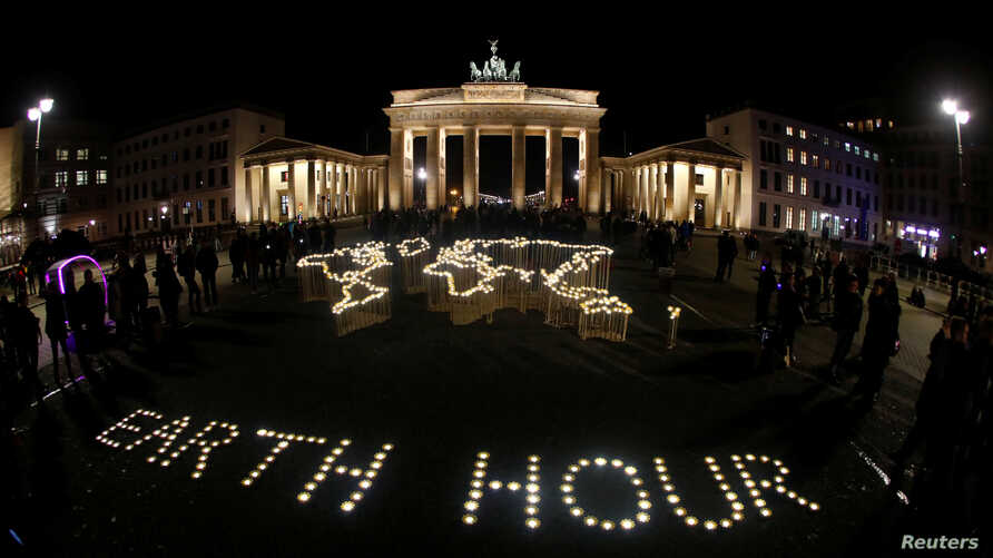 The Brandenburg Gate is pictured before Earth Hour in Berlin, March 30, 2019. Picture taken with fish-eye lens.