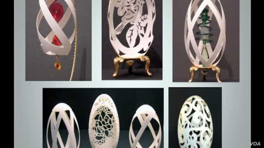 Tina Kannapel's delicately sculpted eggshells on sale in Artists' Undertaking Gallery, Occoquan, Virginia, June 5, 2012.