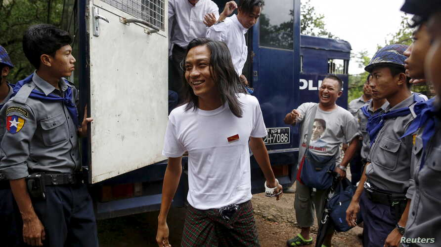 Student activist Min Thway Thit arrives at a mass trial of student protesters at Tharrawaddy court, Tharrawaddy, Bago division July 28, 2015