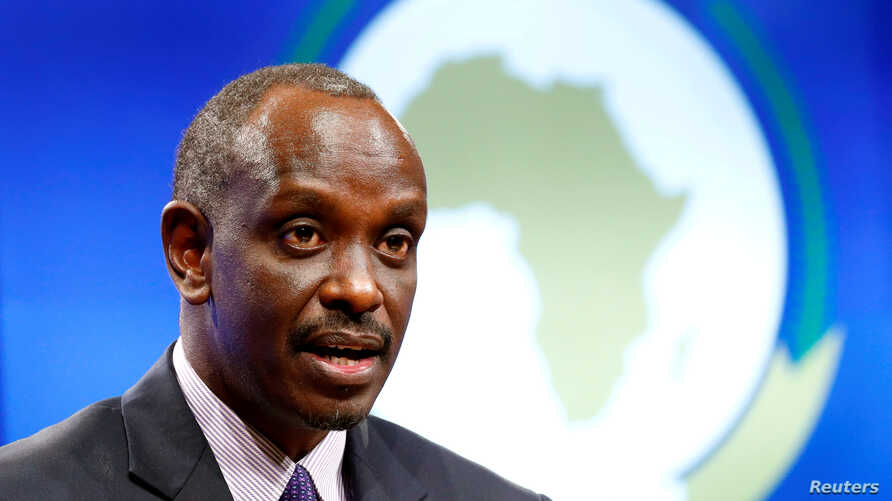 FILE - Rwanda's Foreign Minister Richard Sezibera holds a news conference in Brussels, Belgium, Jan. 22, 2019.