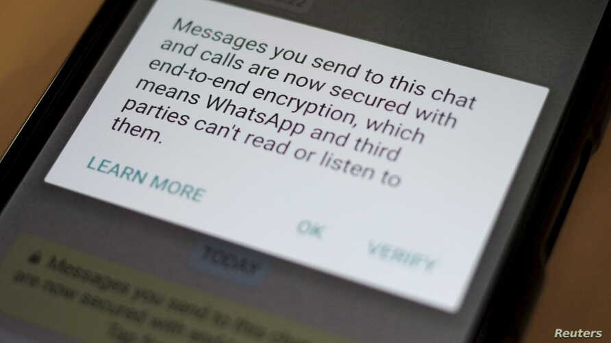 A security update message is seen on a Whatsapp message in this illustration photo, April 6, 2016.