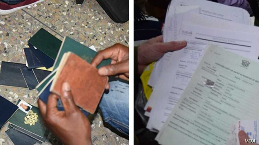 Some of the 150 seized passports collected during the raids are shown at left. At right are some of the banking, education and other identification documents seized during the raids. (Photos courtesy of U.S. Department of State)