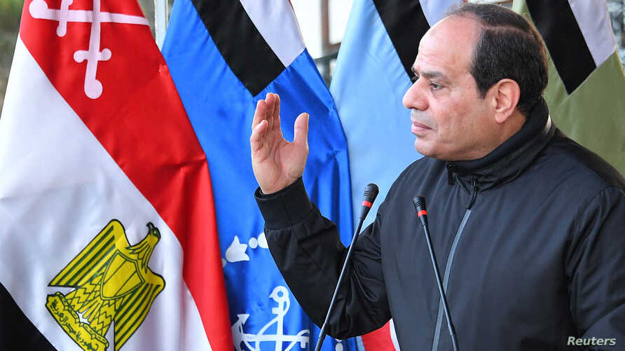 Egyptian President Abdel Fattah Al Sisi speaks with students during a visit to training and rehabilitation programs at the Military Academy in Cairo, Egypt, Feb. 19, 2018.