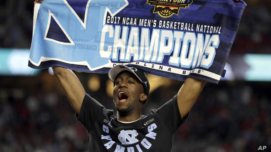 North Carolina's Kenny Williams celebrates after the finals of the Final Four NCAA college basketball tournament against Gonzaga, Monday, April 3, 2017, in Glendale, Arizona. North Carolina won 71-65.
