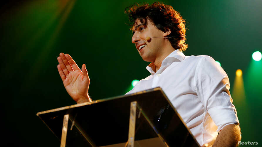 Dutch Green Party ( Groen Links)  leader Jesse Klaver speaks during a meeting for the 2017 Dutch election in the AFAS theater in Amsterdam, Netherlands, March 9, 2017.