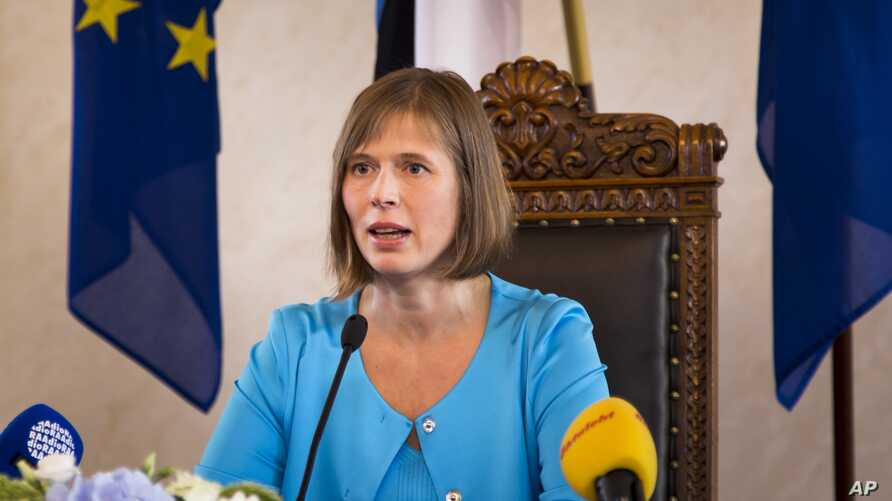 Kersti Kaljulaid addresses to the media after her inauguration in the parliament in Tallinn, Estonia, Monday, Oct. 10, 2016. Kaljulaid is the Baltic country's first female head of state and its fourth president since independence in 1991.